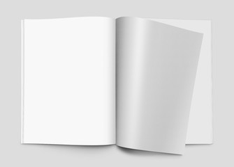 Blank magazines with turning page, brochure or notebook template, 3d illustration