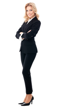 Full body portrait of happy smiling businesswoman, isolated over white background