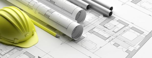 Obraz Residential building blueprint plans, banner. 3d illustration - fototapety do salonu