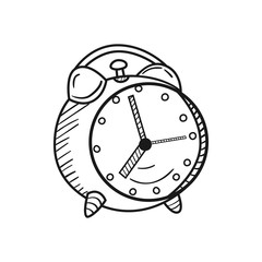 Hand drawn Alarm Clock isolated on a white. Sketch. Vector illustration.