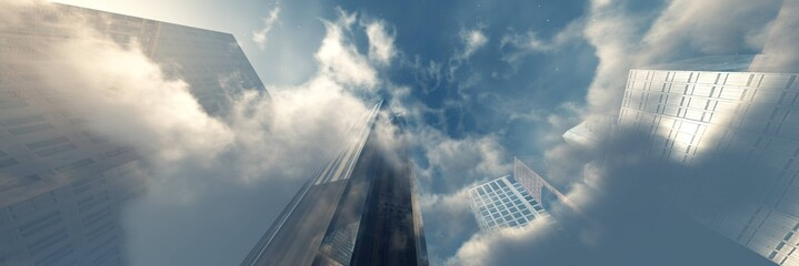 Beautiful clouds with skyscrapers. Modern buildings in the clouds. 3d rendering.