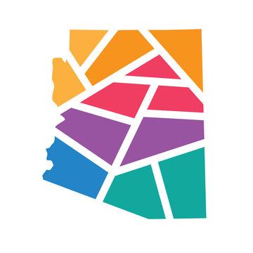 colorful geometric Arizona map- vector illustration