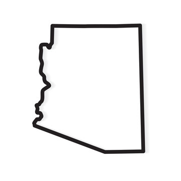 black outline of Arizona map- vector illustration