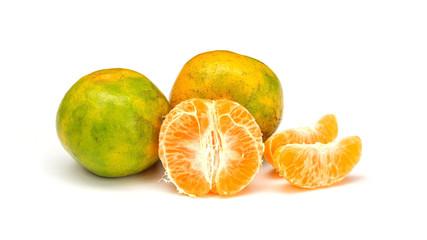 Tangerine orange fruit on a white background.