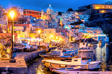 Wall Mural - Procida island, Old town port at night, Italy