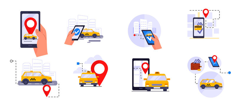 Call a Taxi. Car selection and navigation in the city with an emphasis on fare. Set of flat vector illustrations for mobile applications and web sites.