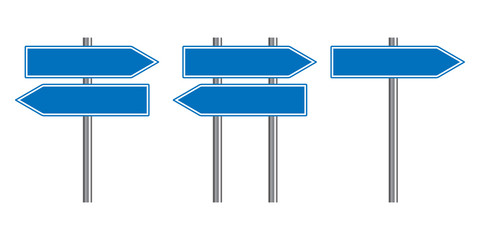 Blank traffic road sign set, direction empty street signs, blue arrow signposts isolated on white background, vector illustration.