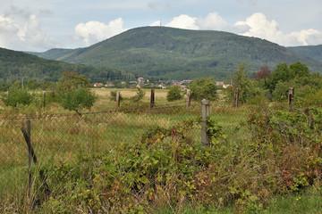 Landscape under Ore mountains near czech village of Vysoka Pec on 8th september 2019