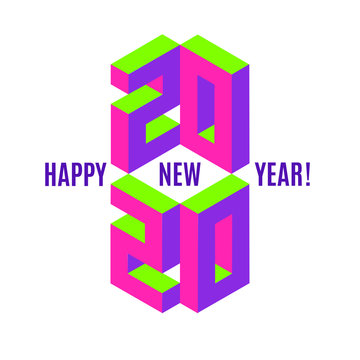 Happy new 2020 year sign