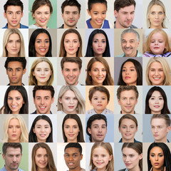 Kyiv, Ukraine - September 17, 2019: Collage of hyperrealistic AI-generated human faces, created by generative adversarial network, that invented by Nvidia researchers