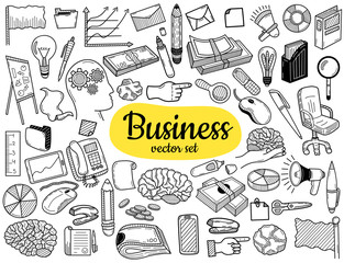 Business idea doodles icons set.  Hand sketched vector elements for landing page websites, banners, presentations, backgrounds, posters, blogs and social networks. Vector illustration.