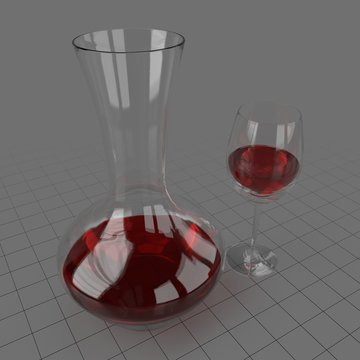 Wine in glass and decanter