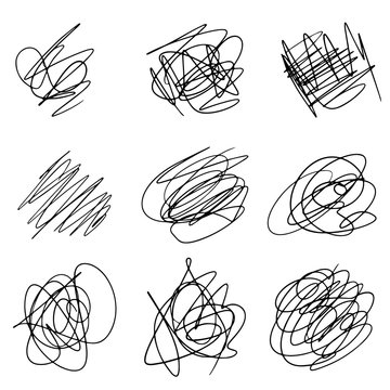 Set of hand drawn scribble line shapes. Vector illustration