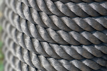 Twisted steel rope or cable.