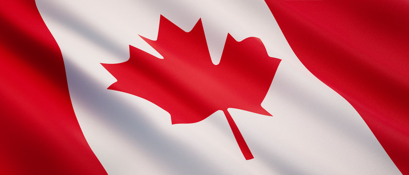 Waving flag of Canada - Flag of Canada - 3D illustration