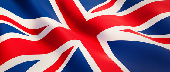Waving flag of United Kingdom - Flag of Great Britain - 3D illustration