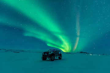 Wall Murals Northern Europe Northern lights aurora borealis in the winter