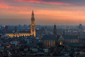 Zelfklevend Fotobehang Antwerpen Antwerp cityscape with cathedral of Our Lady, Antwerpen Belgium at dusk