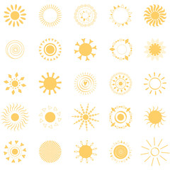 Yellow sun symbols like mandala. Sun icons logo elements yellow