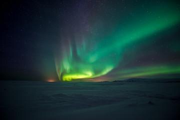Foto op Aluminium Noorderlicht Northern lights aurora borealis