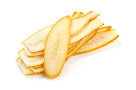Yellow zucchini slices, squash, isolated on white background