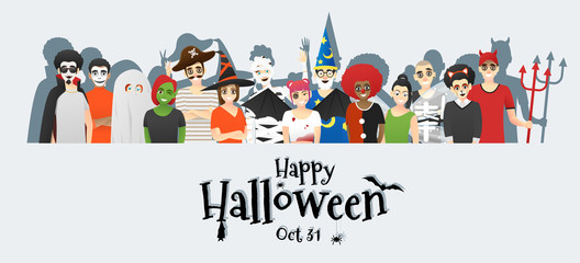 Happy Halloween , group of teens in Halloween costume concept standing together on white background , vector, illustration Fototapete