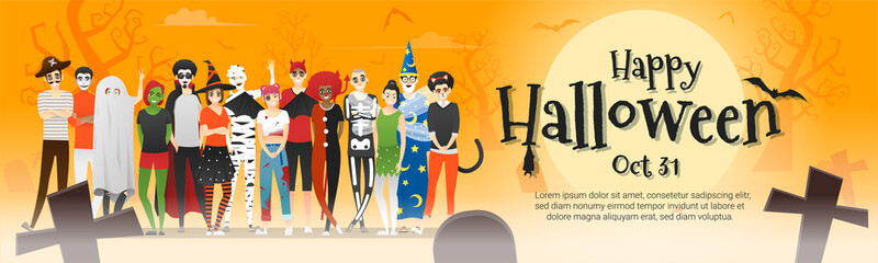 Happy Halloween , group of teens in Halloween costume concept standing together on graveyard background , vector, illustration Wall mural