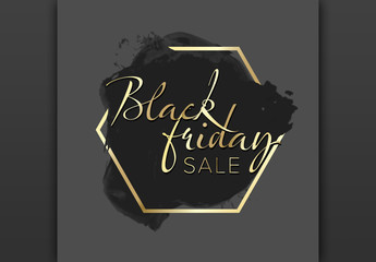Black Friday Sale Label Layout with Gold Accents