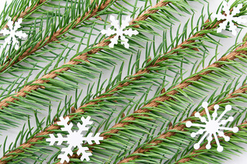Printed roller blinds Tropical Leaves Sprigs of blue spruce with snowflakes are located diagonally in even rows on a white background. Christmas, new year concept, texture.