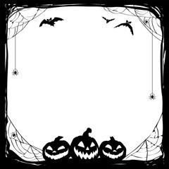 Halloween black frame with bats and Jack O' Lanterns. Vector poster illustration.