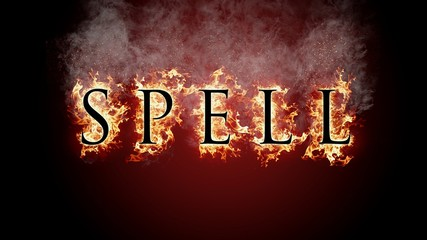 3D rendering flame of fire spell text on black background