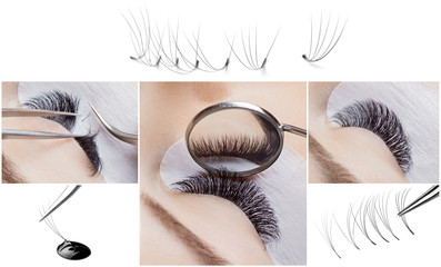 Eyelash extension procedure. Woman master works with tweezers lashes. Collage beauty salon, individual bundles and drop glue