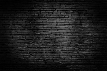 Photo sur Plexiglas Mur Black brick walls that are not plastered background and texture. The texture of the brick is black. Background of empty brick basement wall.