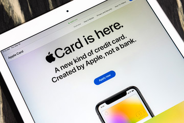 Kyiv, Ukraine - September 19, 2019: A close-up shot of apple.com website with an announcement about the release of Apple Card, a new kind of banking card created by Apple Inc.