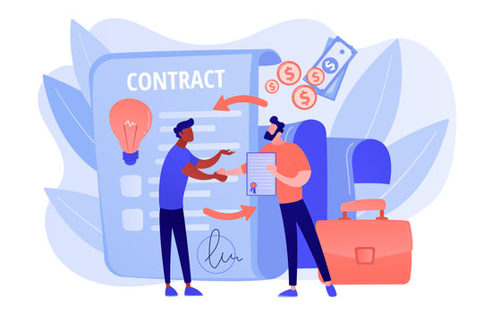 Quality assurance. Business deal. Guarantee certificate. Licensing contract, intellectual property agreement, electronic copy sales concept. Living coral blue vector isolated illustration