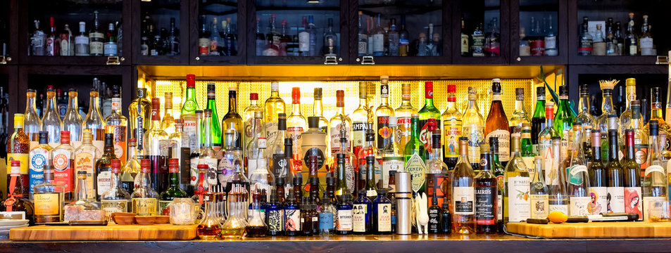 Bottles of alcohol and spirits at a well stocked bar in New Orleans on December 25, 2016