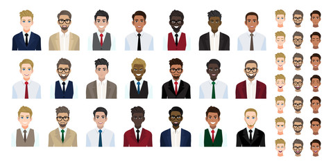 Businessman cartoon character head collection set. Handsome business man in office style on white background. Flat vector illustration