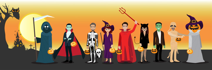 Happy Halloween party with cartoon character in Halloween costume . Flat icon design vector illustration.