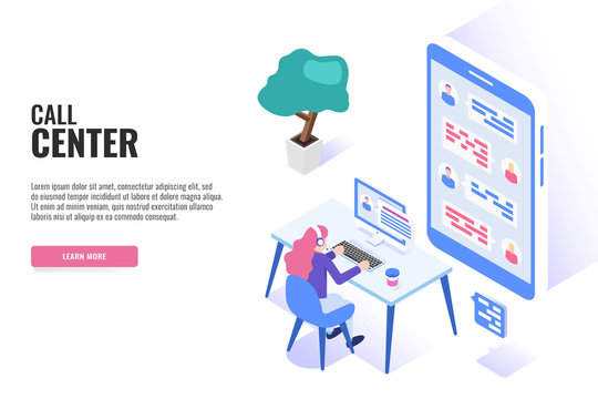 Concept of call center.  Technical support or dispatcher call center. Female operator on call center. Isometric vector illustration.