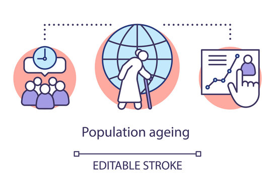 Population ageing concept icon. Demographic problem. Rising life expectancy. Pensioners social protection. Senior citizens idea thin line illustration. Vector isolated outline drawing. Editable stroke