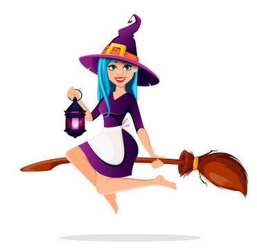 Beautiful lady witch flies on broomstick