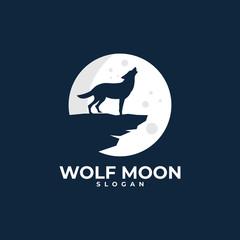 wolf moon illustration logo design