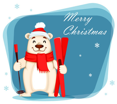 Funny white bear cartoon character holding skis