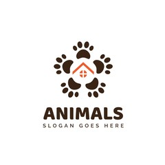 Pet shop clinic home care logo design with roof house and dog or cat footprints
