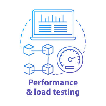 Performance and load testing concept icon. Research system speed, stability. Website speed optimization. Application check idea thin line illustration. Vector isolated outline drawing