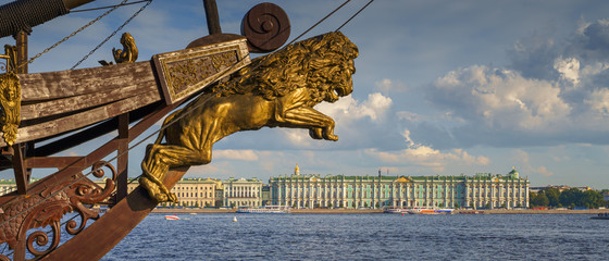 Hermitage museum and Neva river in St Petersburg, view from Petrograd side