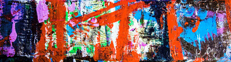 Abstract art & multicolor paint; as a fun & inspirational background texture, with grunge patterns...