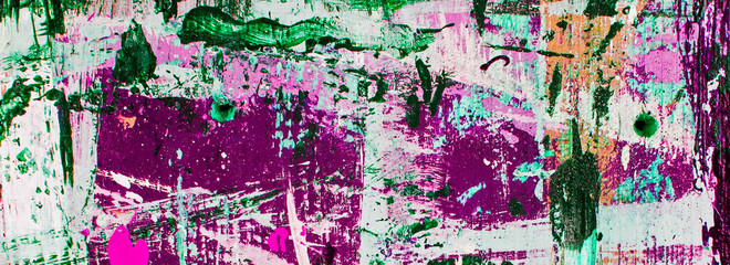 Abstract art banner / panorama - with splashes, stripes & swirls of multicolor paint - fun, creative & inspirational background texture, in purple, white, pink & green, or tweak as you wish.