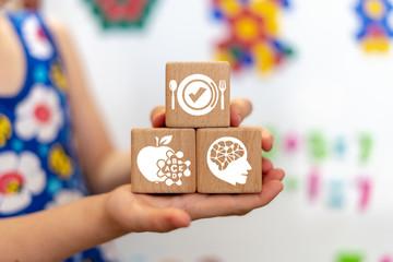 Preschool healhy kids nutrition concept. School proper baby food background.