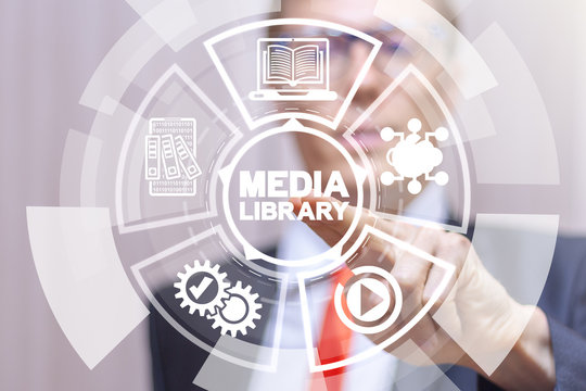 Media Library Web Technology Concept.